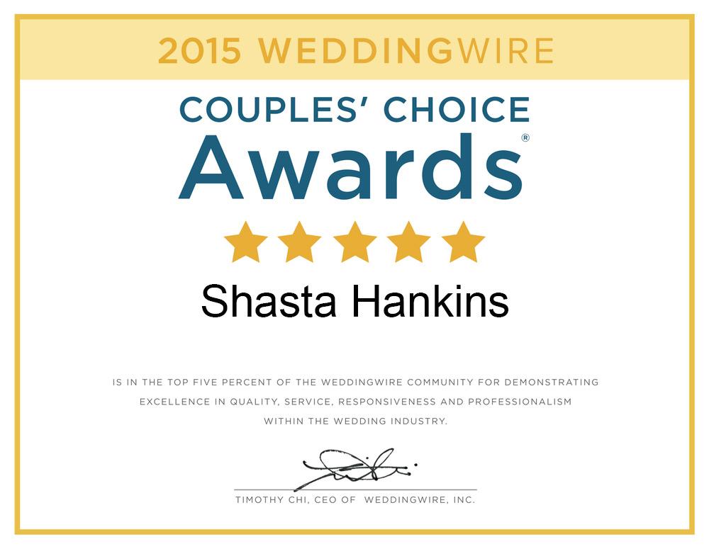 Wedding Wire 2015 Award Winner